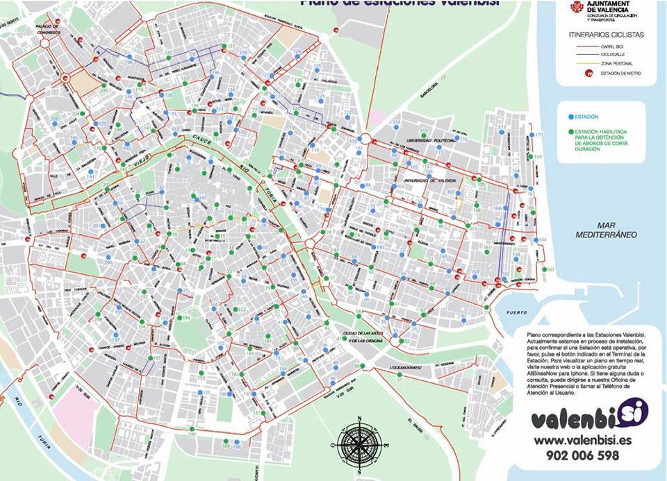 Схема расположения станций Valenbisi
